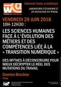 Séminaire Travail & Numérique : Damien Brochier (Céreq) le 29 juin